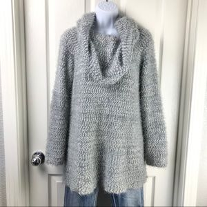 LC Lauren Conrad Gray Cowl Neck Eyelash Sweater XL